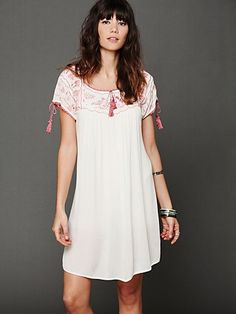 Free People Embroidered Gauze Top