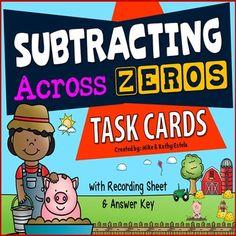 Subtracting Across Zeros Task Cards $