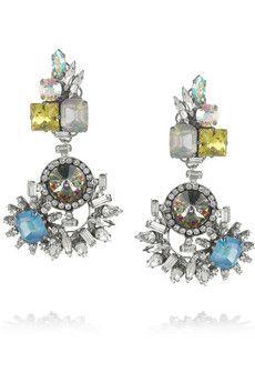 ERICKSON BEAMON  In The Mood For Love gunmetal-plated Swarovski crystal clip earrings