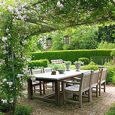 Backyard Havens * An arbor and boxwoods create a garden room. Outdoor Areas, Outdoor Rooms, Outdoor Dining, Outdoor Decor, Dining Area, Dining Table, Landscape Design, Garden Design, Outside Living