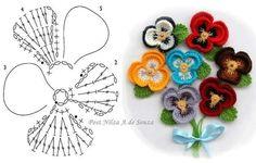 Flor de Crochê Amor Perfeito. /  Crochet of Perfect Love Flower.