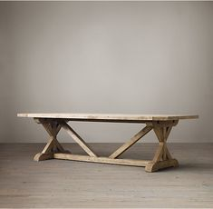 RH's Salvaged Wood X-Base Rectangular Extension Dining Table :Our salvaged beam wood tables are handcrafted of unfinished, solid salvaged pine timbers from 100-year-old buildings in Great Britain.