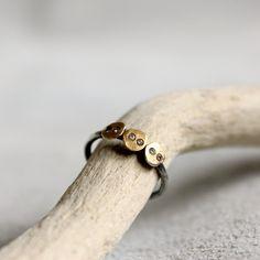 Tamara Gomez Jewellery - Triple Sequin Ring With Diamonds