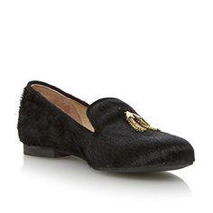 Dune Black Damen Dune Black Ponyfell-Slipper mit Zierquasten Schwarz - http://on-line-kaufen.de/dune/dune-black-damen-dune-black-ponyfell-slipper-mit