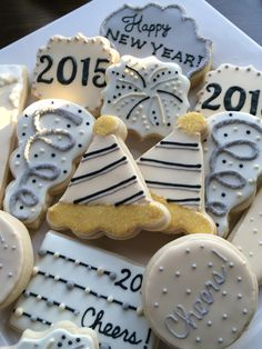 New Year's Eve cookies - decorated cookies