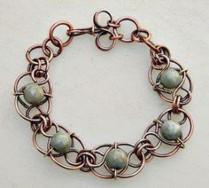 Jade Link Bracelet a gallery of work by Zoraida. Love this artists wire work!
