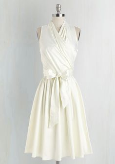 Beyond Bombshell Dress - Long, Satin, Woven, White, Solid, Belted, Special Occasion, Wedding, Party, Graduation, Bride, Vintage Inspired, Sleeveless, Variation, V Neck, Fit & Flare