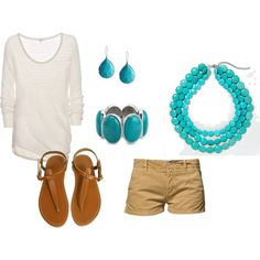 Turquoise and white, created by schmidtca-8512 on Polyvore