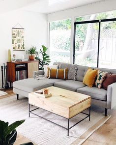 Shop the look Daydreaming about this light + bright living room featuring our Drake Sectional from @ Charcoal Sofa Living Room, Living Room Sectional, Living Room Grey, Home Living Room, Living Room Designs, Sectional Sofa, Bright Living Room Decor, Colourful Living Room, Small Room Design
