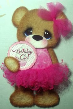 ELITE4U Tear Bear Birthday Girl tutu pink ~paper piecing  scrapbook ~card ~album