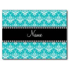 Personalized name turquoise white damask postcards