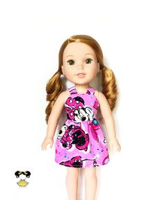 Dress, Spaghetti Strap, Disney, Minnie Mouse, Pink, Black, White, 14.5, 14 inch Doll Clothes, Wellie Wishers, Summer by JoDeePetites on Etsy https://www.etsy.com/listing/531482250/dress-spaghetti-strap-disney-minnie