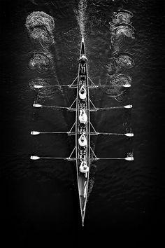 Aerial shot of rowers -  black and white photography - more on www.murraymitchell.com