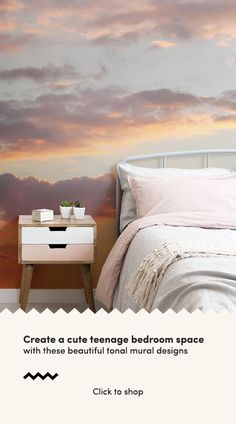 Create a beautifully serene space with these sunset wallpaper ideas for a cute girly bedroom. These teenage bedroom ideas include cute and peaceful sunset wallpapers, perfect for a cute teenage bedroo Feature Wall Bedroom, Small Room Bedroom, Trendy Bedroom, Bedroom Colors, Feature Walls, Bedroom Yellow, Small Rooms, Wall Paper For Bedroom, Bedroom Wall Colour Ideas
