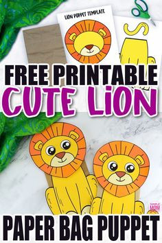 Are you teaching the letter L to your preschooler or toddler? Be sure to use this free printable paper bag lion puppet template. It is easy to cut out and craft making it with simple materials like a paper bag! The lion template comes in color and in black and white. Print yours now! Safari Animal Crafts, Giraffe Crafts, Zoo Crafts, Animal Crafts For Kids, Templates Printable Free, Free Printable Coloring Pages, Free Printables, Printable Paper, Fun Facts About Lions