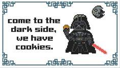 Darth Vader Come to the Dark Side we have Cookies door dorkstitch