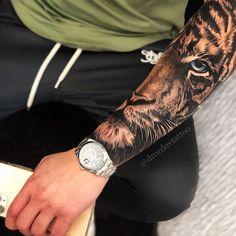 Tiger Forearm Tattoo, Tiger Eyes Tattoo, Lion Head Tattoos, Bear Tattoos, Hand Tattoos, Octopus Tattoos, Tiger Tattoos For Men, Men Arm Tattoos, Lion Arm Tattoo