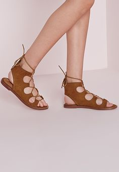 Missguided - Lace Up Flat Gladiator Sandals Tan
