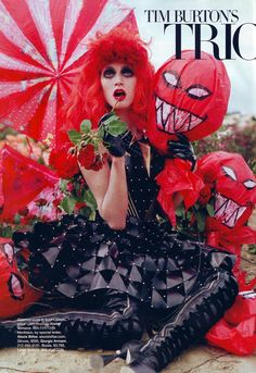 Shot by Tim Walker for Harper's Bazaar and entitled Tim Burton's Tricks and Treats, it's based on Tim Burton's universe and features the man himself alongside a dazzling array of goth frocs and some of his defining characters.