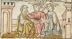 Der Antichrist und die fünfzehn Zeichen vor dem Jüngsten Gericht, [Blockbuch] [Franken/Nürnberg?], [ca. 1450 (nicht nach 1467)]  Folio 2v