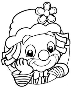 Up close clown Coloring Book Pages, Coloring Sheets, Clown Mignon, Puzzle Photo, Clown Crafts, Cute Clown, Digi Stamps, Coloring For Kids, Printable Coloring