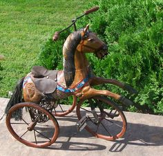 VINTAGE CARVED WOOD HORSE VELOCIPEDE TRICYCLE #horse #unknown