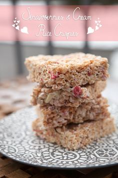Strawberries & Cream Rice Crispies (needs several mods for low-FODMAP)