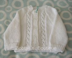 Baby Cardigan, Girls Sweater, Children Cardigan, Hand knit, Double Knit Cardigan, Cardigan Style 18, Size 0-6 months, White Cardigan by BobtailsBoutique on Etsy