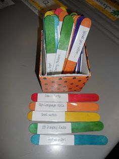 Activity Sticks:  Pick a stick and do the activity for one minute.  Sometimes kids just need to move!