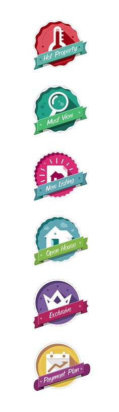 Flat Style Badges by Eriks Cernevskis, via Behance