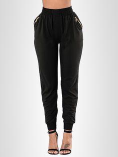 Fashion Women High Elasticity Zipper Pocket Tied Pants