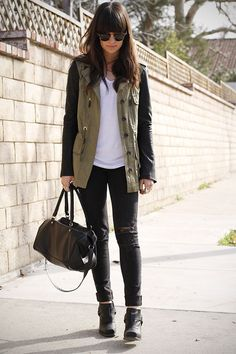 Discover this look wearing Army Green Leather Sleeves Jackets, Black Boots, Gray Destroyed Jeans - Windy Days by CaseysCollection styled for Chic, School in the Spring Fall Winter Outfits, Winter Fashion, Olive Vest, Leather Sleeve Jacket, Casual Outfits, Fashion Outfits, Fashion Clothes Online, Vogue Fashion, Asos Fashion