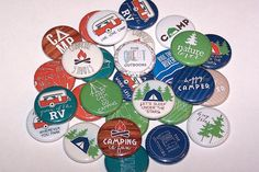 """10 Happy Camper Great Outdoors 1 Inch Pin Back Buttons 1"""" Pins or Magnets Camping"""