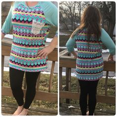 Raglan Tribal Tunic Top NWOT Adorable crochet pocket top in teal blues and pinks! Spring here we come!!! Boutique Tops Tunics