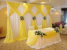 Trendy Wedding Backdrop Tree Head Tables Ideas Source by Stage Decorations, Indian Wedding Decorations, Yellow Wedding Decor, Yellow Party Decorations, Party Kulissen, Head Tables, Beautiful Curtains, Wedding Fabric, Wedding Stage