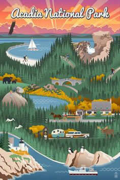 Acadia National Park - Retro View - Lantern Press Poster