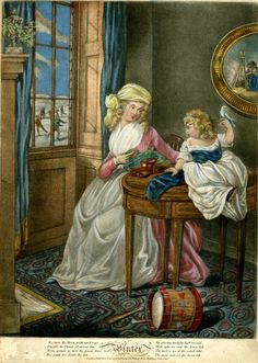 A young woman sitting near a window, offering a biscuit to a little child who sits on the round table beside her, holding a pet bird perched on her hand; with a drum on the floor, a picture of a woman warming her hands at an open fire on the wall and a view of skaters through the window to left.  1795  Hand-coloured mezzotint with some etching