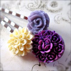 Floral Bobby Pin Set Purples & Cream  Silver by PaganucciDesigns, $9.00