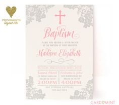 A personal favorite from my Etsy shop https://www.etsy.com/ca/listing/255778621/baptism-invitations-blush-pink-grey