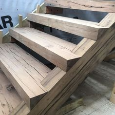 Lovely crafting of a planed antique oak plank stair. #nequette #heavytimber #farmhouse #craftsmanship