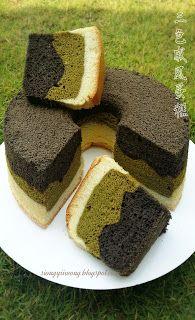 雨之家: 三色戚风蛋糕《Tri-Colour Chiffon Cake》