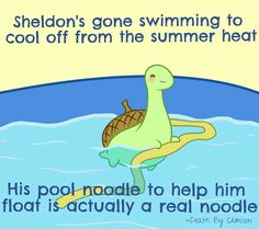 Sheldon the Tiny Dinosaur // Sheldon's gone swimming to cool off from the summer heat. His pool noodle to help him float is actually a real noodle. Animal Memes, Funny Animals, Cute Animals, Cute Comics, Funny Comics, Turtle Dinosaur, Sheldon The Tiny Dinosaur, Funny Cute, Hilarious
