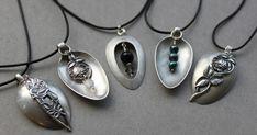 Schmuck u. Silver Spoon Jewelry, Fork Jewelry, Metal Jewelry, Beaded Jewelry, Handmade Jewelry, Jewelry Necklaces, Silver Spoons, Silver Ring, Diy Pinterest
