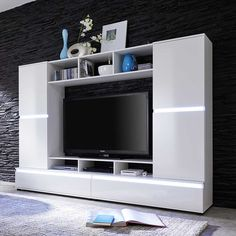 Tv wand weiß hochglanz  TV Wand in Hochglanz Weiß Wechsellicht Jetzt bestellen unter ...