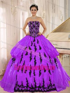 Perfect Strapless Purple Organza Quinceanera Gown Dress with Appliques