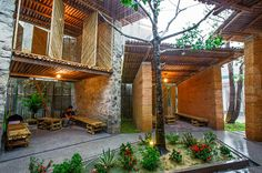 Sustainable bamboo, earth and stone pavilion