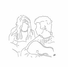 possibly an iPad drawing . Outline Drawings, Pencil Art Drawings, Art Sketches, Minimalist Drawing, Minimalist Art, Couple Drawings, Pics Art, Drawing People, Love Art