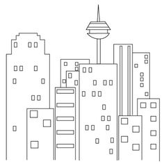 how to draw a city, simple