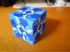 ユニット折り紙 立方体 blue ver. 【Modular origami】 - YouTube