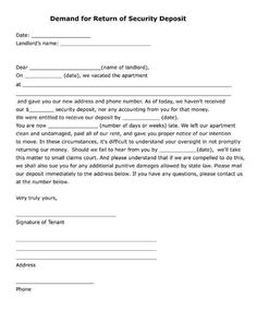 Free printable legal form itemized security deposit deduction form free printable demand for return of security deposit letter pdf form thecheapjerseys Image collections